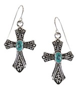 Filigree Cross Earrings with Turquoise Center, Silver