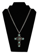 Double Strand Antiqued Cross Necklace with Turquoise Beads, Silver