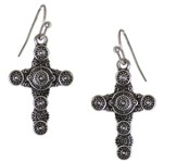 Textured circle Designs Cross Earrings, Silver