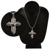 Cross with Heart Center Necklace, Silver