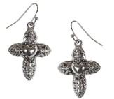Cross Heart Center Earrings with Flower Designs, Silver
