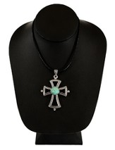 Textured Cross Necklace with Turquoise Center, Silver