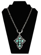 Cut Out Cross Necklace with Turquoise Beads, Silver