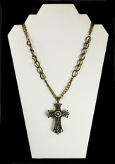 Filigree Cross Necklace with Crystal Stones, Gold