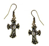 Filigree Cross Earrings with Crystal Center, Gold