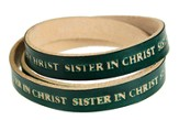 Sister in Christ Wrap Leather Bracelet, Green