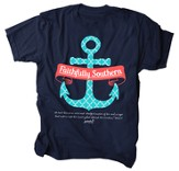 Faithfully Southern, Anchor Shirt, Navy, Youth Large