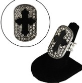 Burnished Silver Stretch Cross Ring with Jet Epoxy