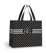 Pray Big Tote Bag, Black and White Polka Dots