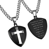 Man of War Shield Cross Necklace, Black