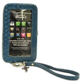 iPhone 5 Wristlet With Cross, Blue Croc