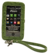 iPhone 5 Wristlet With Cross, Green Ostrich