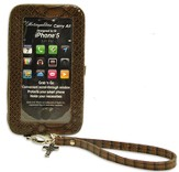 iPhone 5 Wristlet With Cross, Brown Croc
