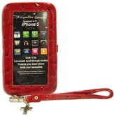 iPhone 5 Wristlet With Cross, Red Ostrich