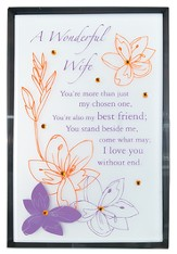 A Wonderful Wife Mirror Plaque, with Rhinestones