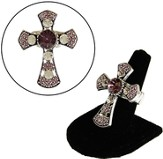 Antiqued Silvertone Cross Stretch Ring Amy/Crystal Stones