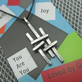 Triple Cross Pewter Necklace