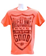 Overcome Evil Shirt, Coral,  Large