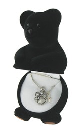 Black Bear Necklace with Cross Charm