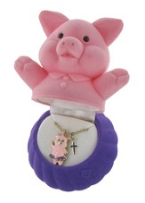 Pig Necklace with Cross Charm