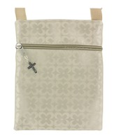 Crossbody Purse, with Cross Charm, Tan