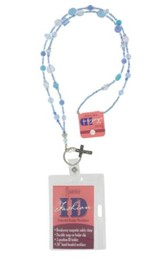 Badge Holder, Beaded, with Cross Charm, Blue