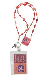Badge Holder, Beaded, with Cross Charm, Red
