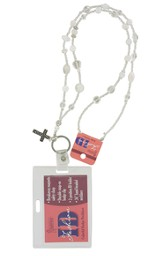Badge Holder, Beaded, with Cross Charm, White