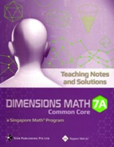Dimensions Math CC Teaching Notes & Solutions 7A