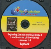 Exploring Creation with Zoology 3: Land Animals of  the 6th Day Lessons 1-6 Lapbook CD-Rom