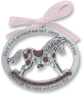Protect Me While I Sleep Crib Charm, Pink Rocking Horse