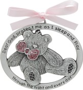 Protect Me While I Sleep Crib Charm, Pink Bear