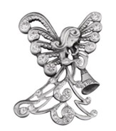 Trumpeting Angel, Pave Christmas Pin  - Slightly Imperfect