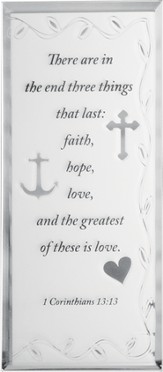Faith, Hope, Love Mirrored Plaque