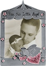 Bless This Little Angel Photo Frame, Angel Pink