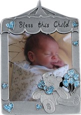 Bless This Little Angel Photo Frame, Bear Blue
