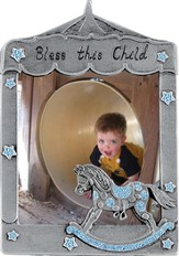 Bless This Little Angel Photo Frame, Rocking Horse Blue