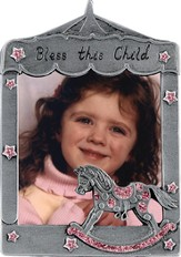 Bless This Little Angel Photo Frame, Rocking Horse Pink
