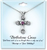 Cross Birthstone Pendant, February