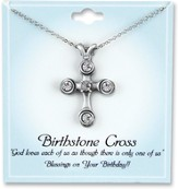 Cross Birthstone Pendant, April