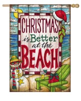 Christmas At the Beach Flag, Large