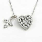Heart with Cross Pendant, Clear Stones
