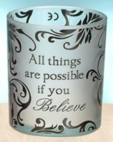 All Things are Possible Votive Holder, Silver