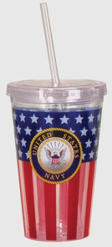 Navy, Flag Tumbler, with Straw