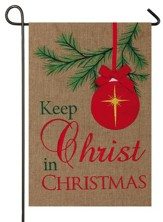 Keep Christ In Christmas, Burlap Flag, Small