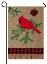 Christmas Cardinal, Burlap Flag, Small