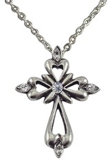 April Birthstone Cross Necklace, Crystal