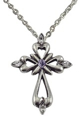 June Birthstone Cross Necklace, Light Amethyst