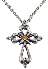November Birthstone Cross Necklace, Topaz