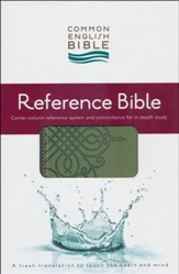 CEB Reference Bible, Soft leather-look Sage Scroll
